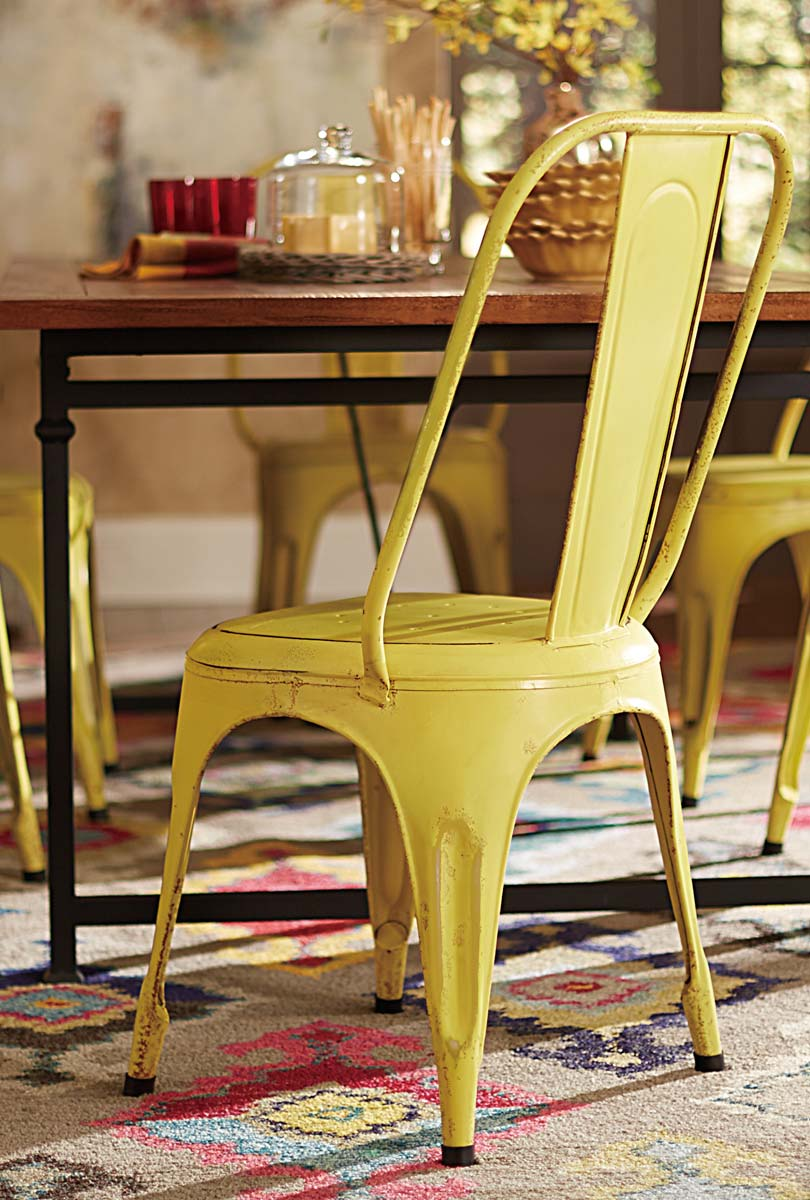 Homelegance Amara Yellow Metal Chair - Yellow