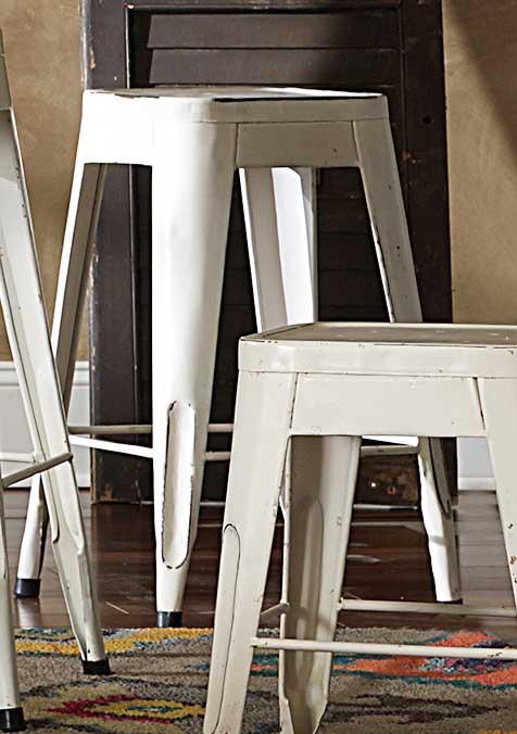 Homelegance Amara 24in Metal Counter Stool - White