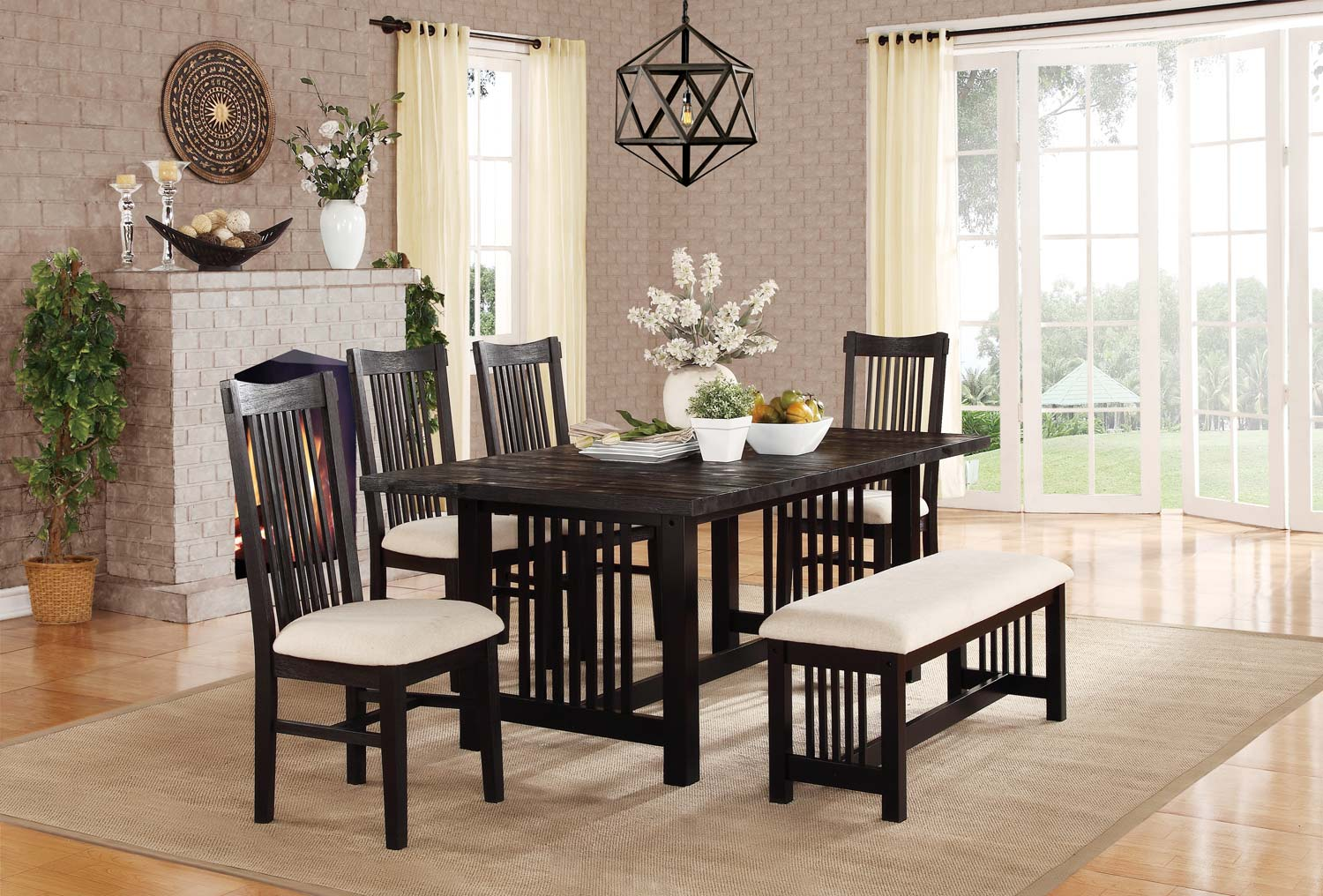 Homelegance Irrington Dining Set - Beige Fabric - Black Driftwood