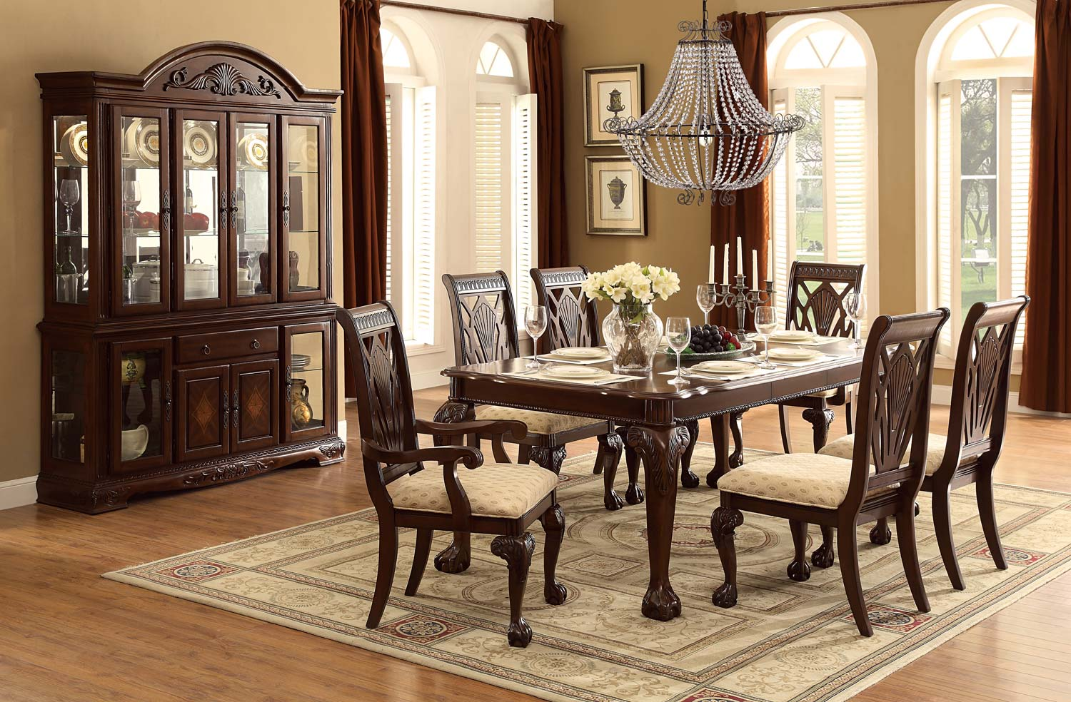 Homelegance Norwich Leg Dining Table Set - Beige Fabric - Warm Cherry