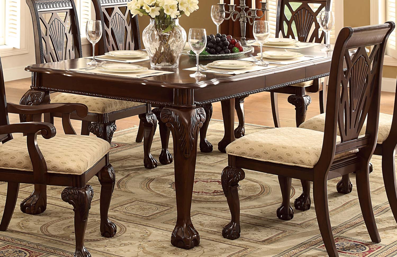 Homelegance Norwich Leg Dining Table Set - Beige Fabric - Warm Cherry 5055-82-Din-Set at ...