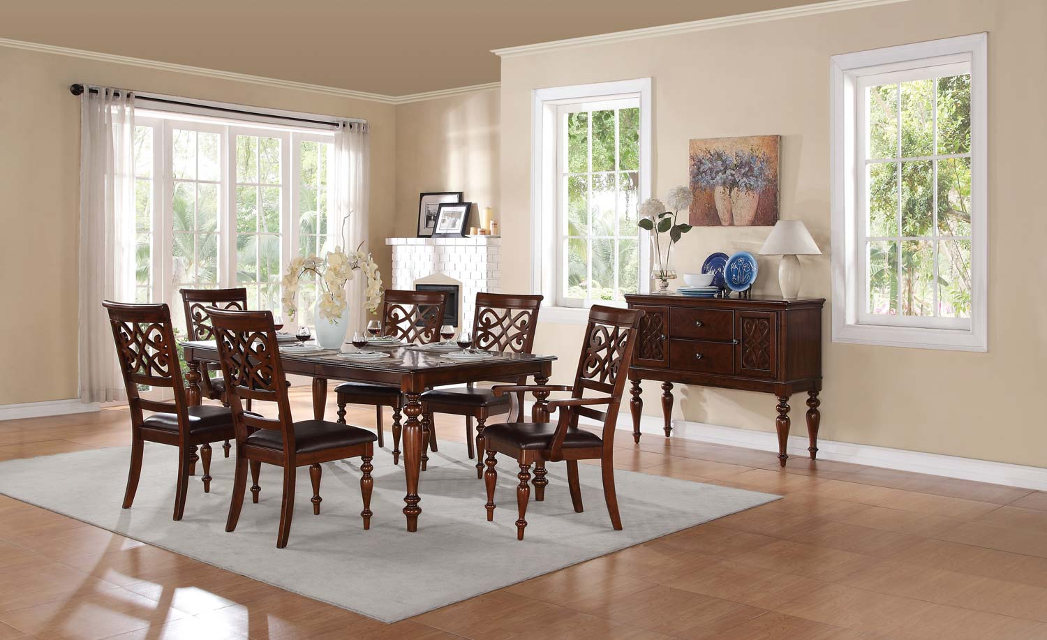 Homelegance Creswell Leg Table Dining Set - Rich Cherry