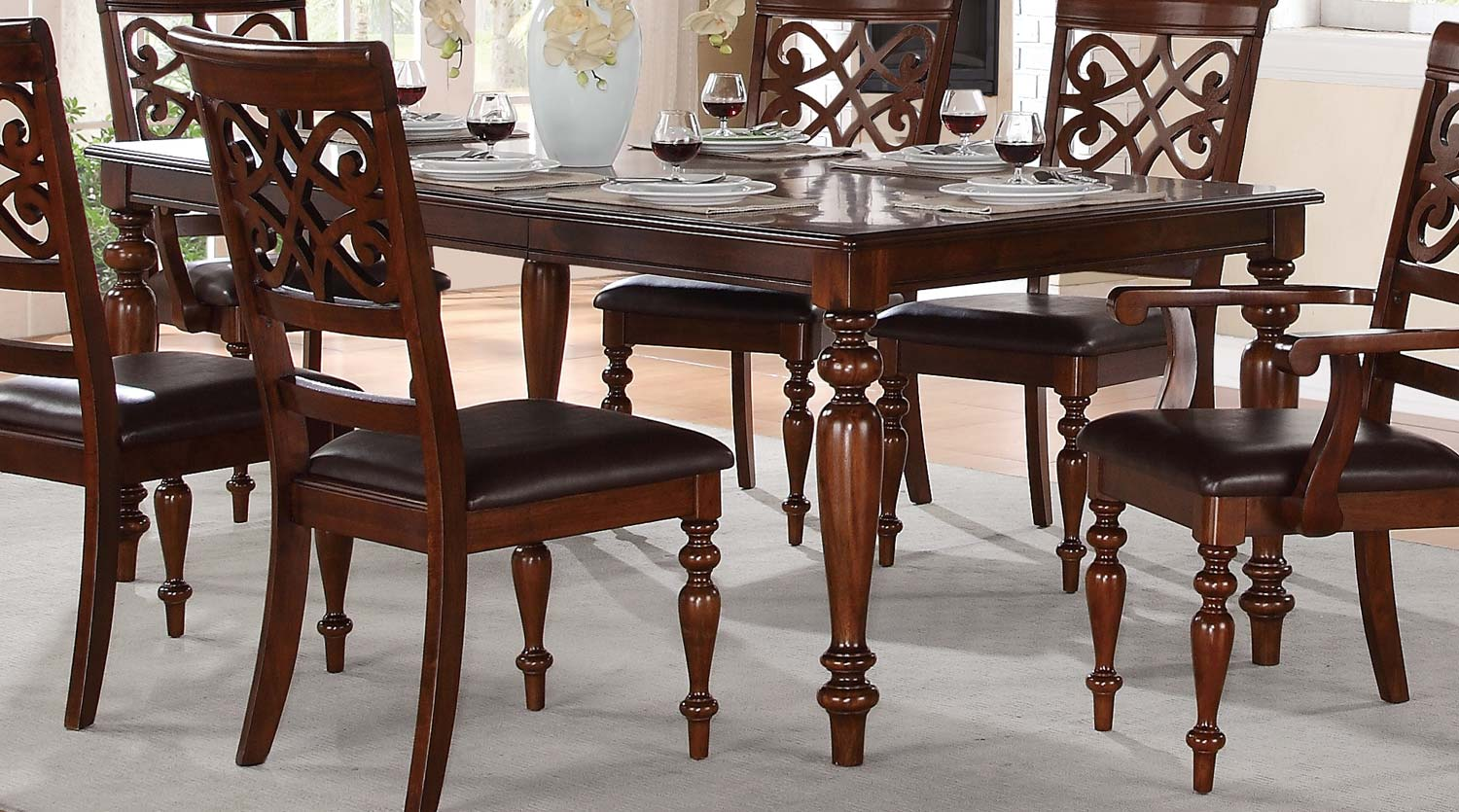 Homelegance Creswell Leg Dining Table with Leaf - Rich Cherry