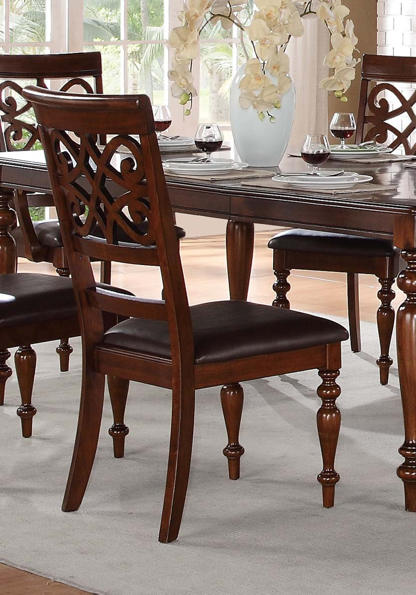 Homelegance Creswell Side Chair - Dark Brown Bi-Cast Vinyl - Rich Cherry