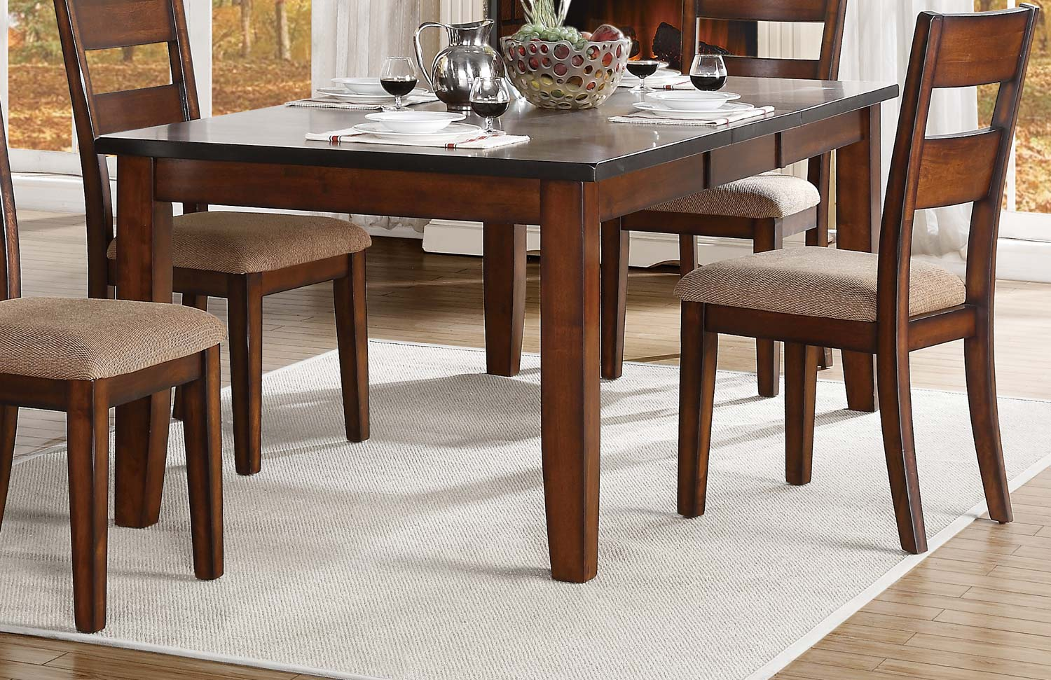 Homelegance Gallatin Dining Table With Leaf - Warm Cherry 5057-78