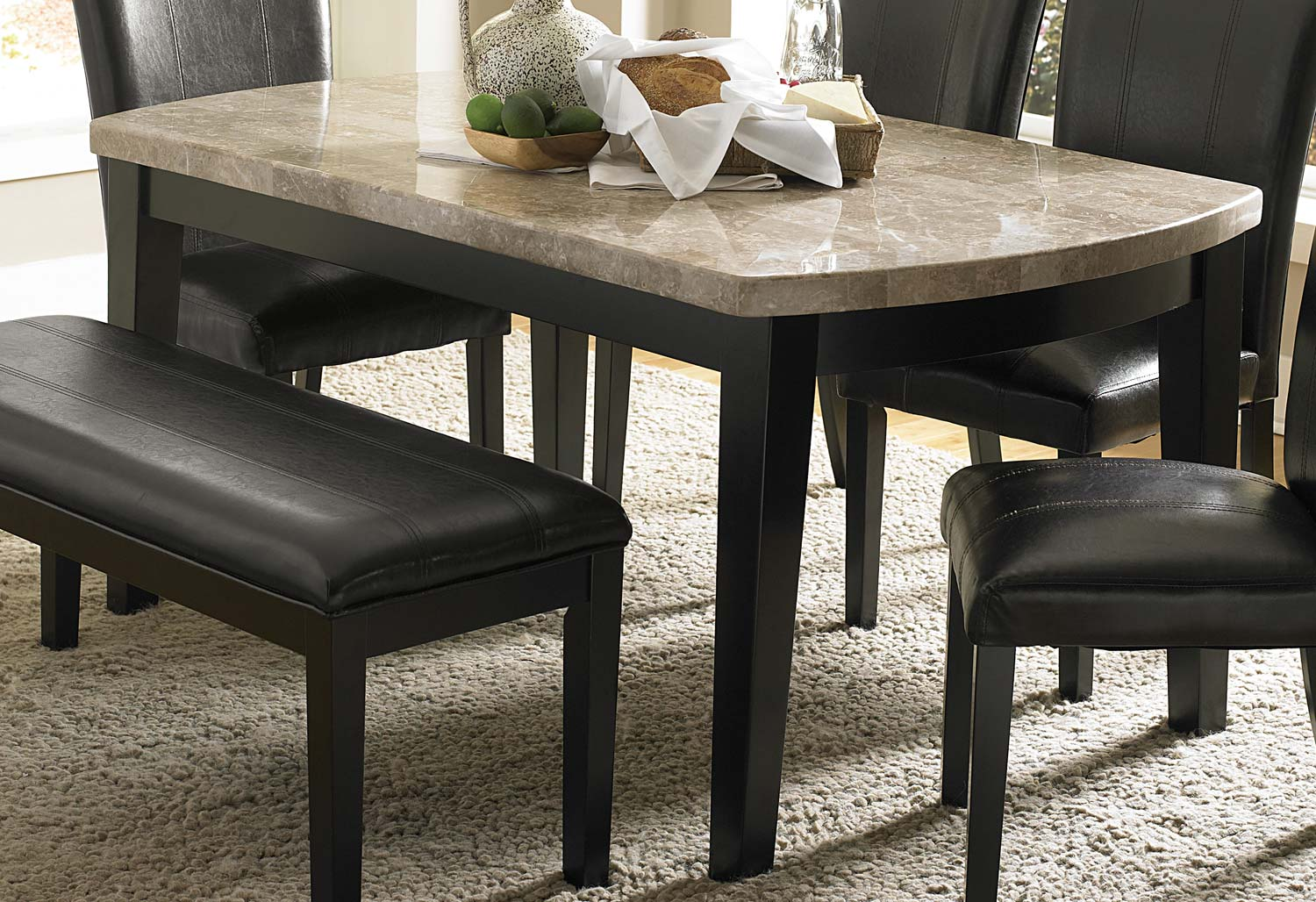 Homelegance Cristo Dining Table - Black Wood - Marble Top