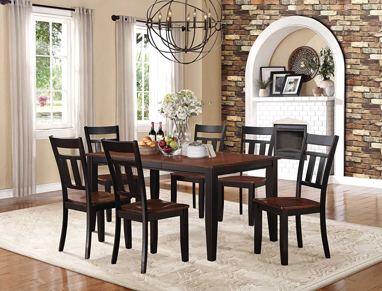 Homelegance Westport Dining Set - Two tone black/cherry