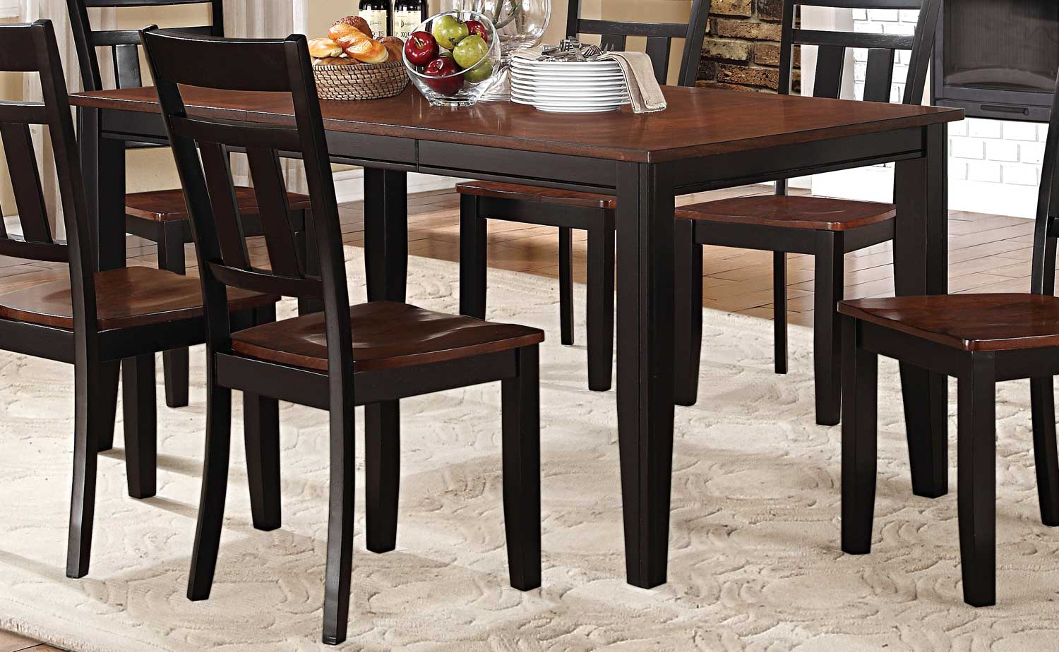 homelegance westport dining table two tone black cherry 5079bk 66 at. Black Bedroom Furniture Sets. Home Design Ideas