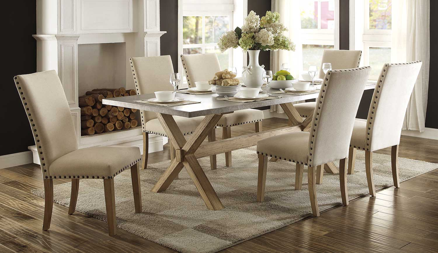 Homelegance Luella Trestle Dining Set - Weathered Oak