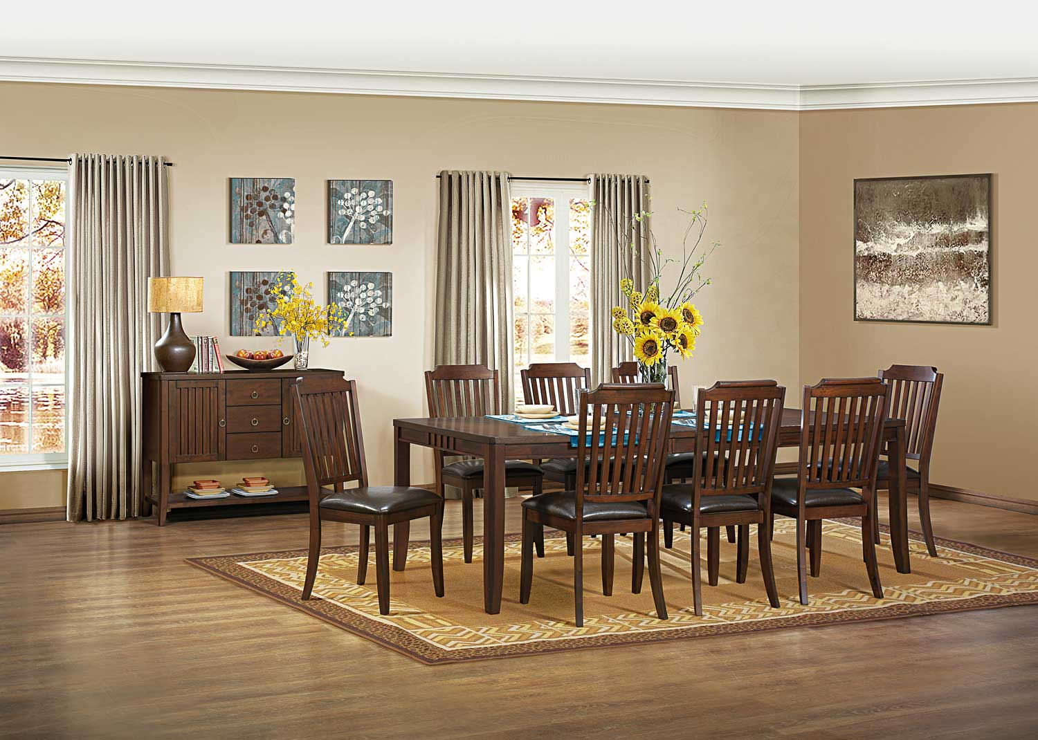 Homelegance Dickens Dining Set - Rich Brown
