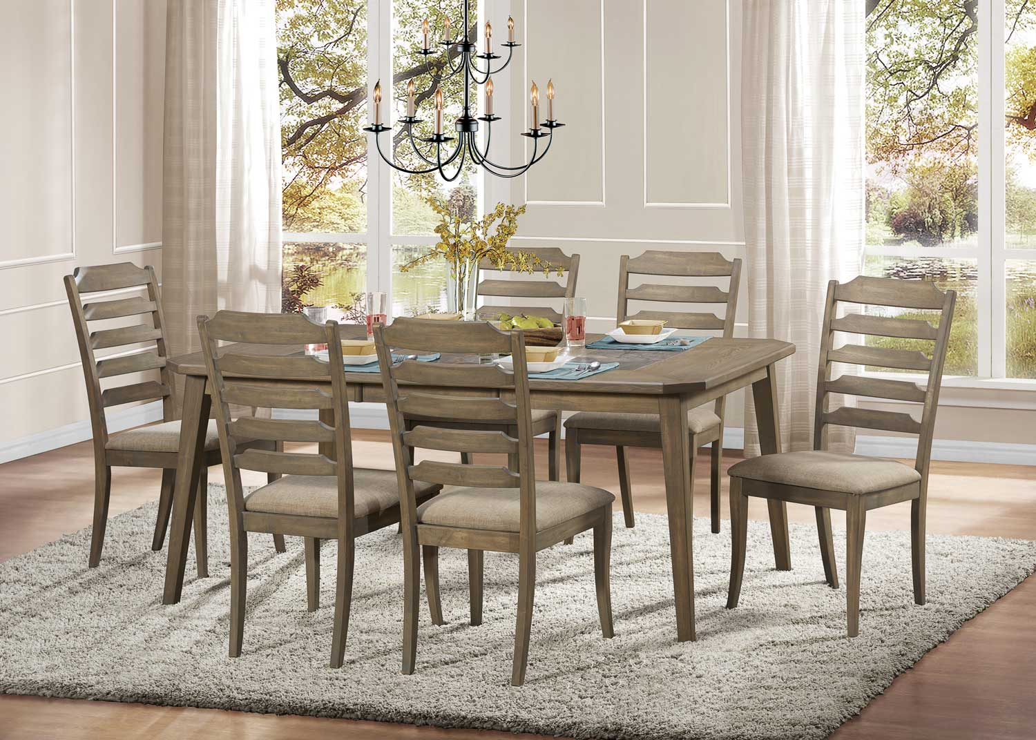 Homelegance Geranium Dining Set Driftwood 5102 Din Room Chairs