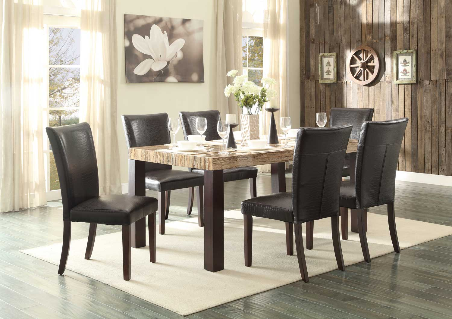 Homelegance Robins Dining Set - Dark Cherry - Faux Marble Top