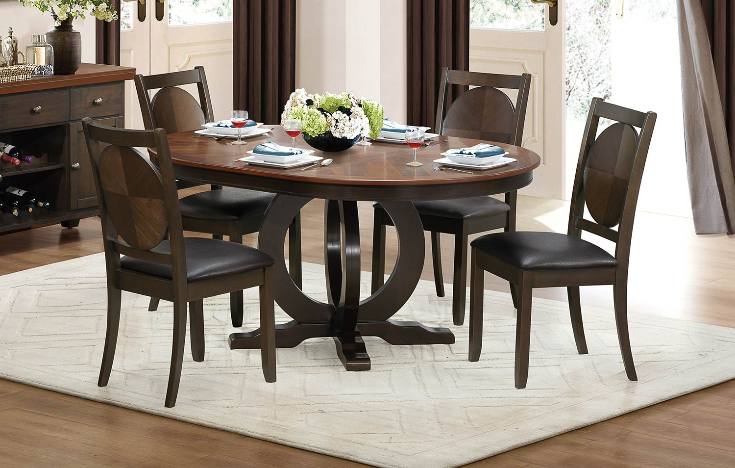 Homelegance Turing Dining Set - Dark Brown