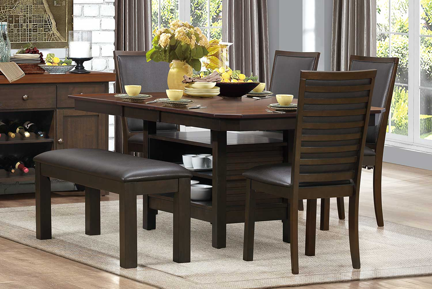 Homelegance Corliss Dining Set - Dark Brown
