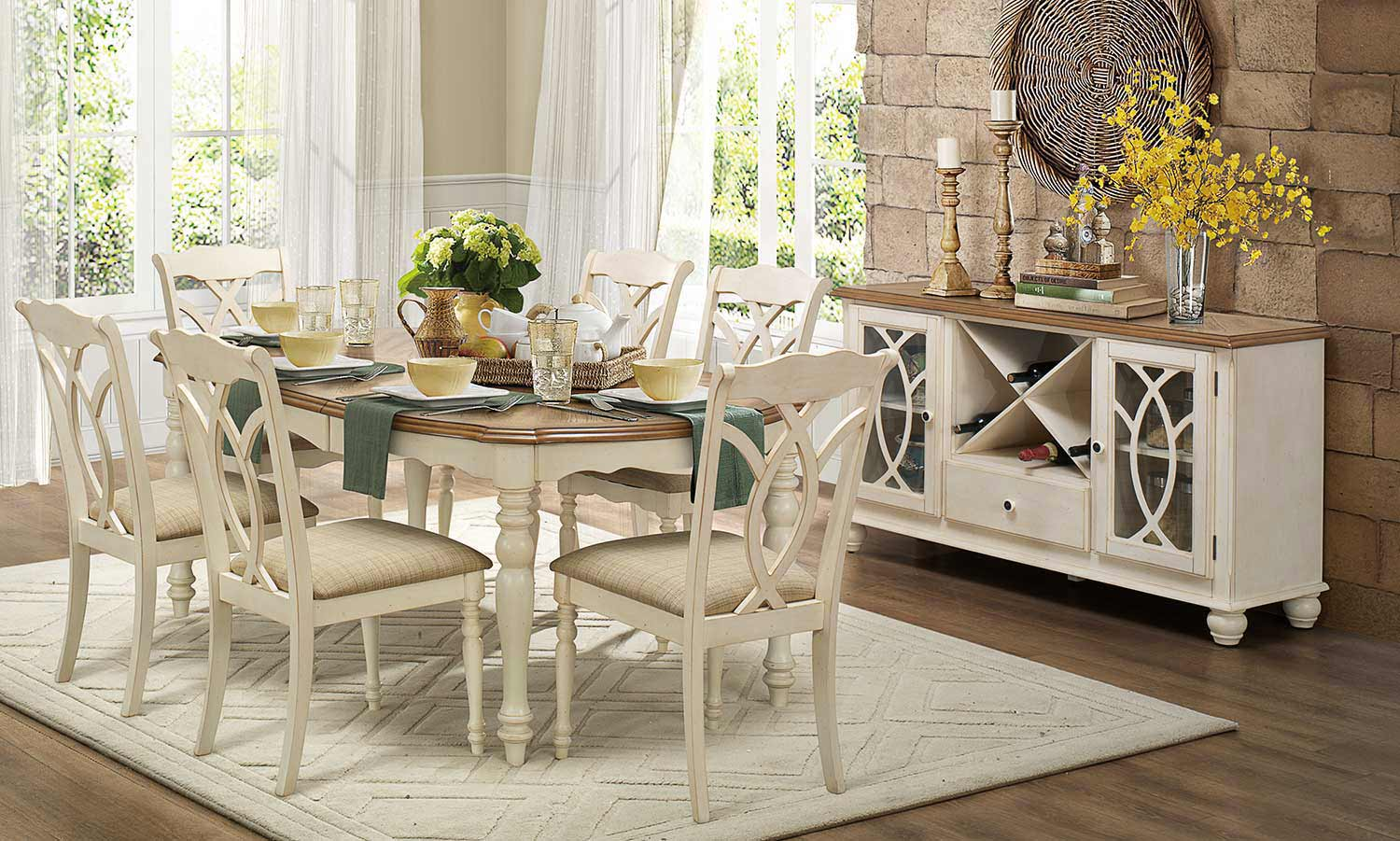 Homelegance azalea dining set antique white 5145 dining for White dining room table set