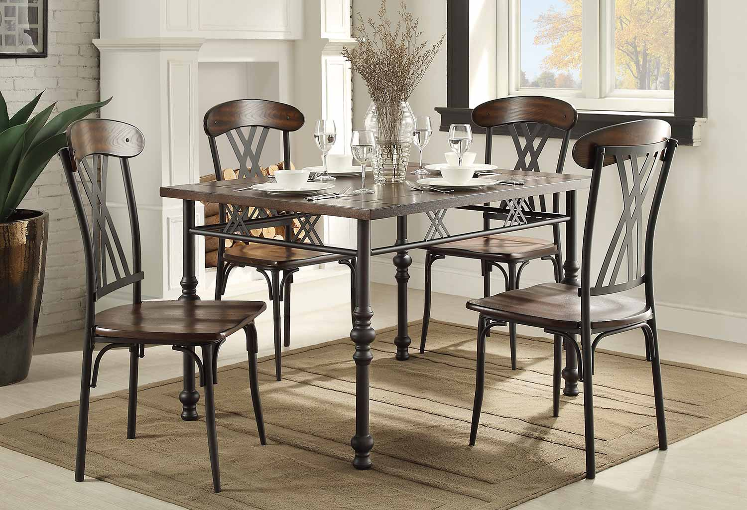 Homelegance Loyalton Dining Set Wood Metal 5149 Dining