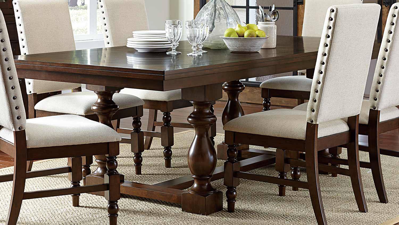 Homelegance yates trestle dining set dark oak 5167 for Trestle dining room sets