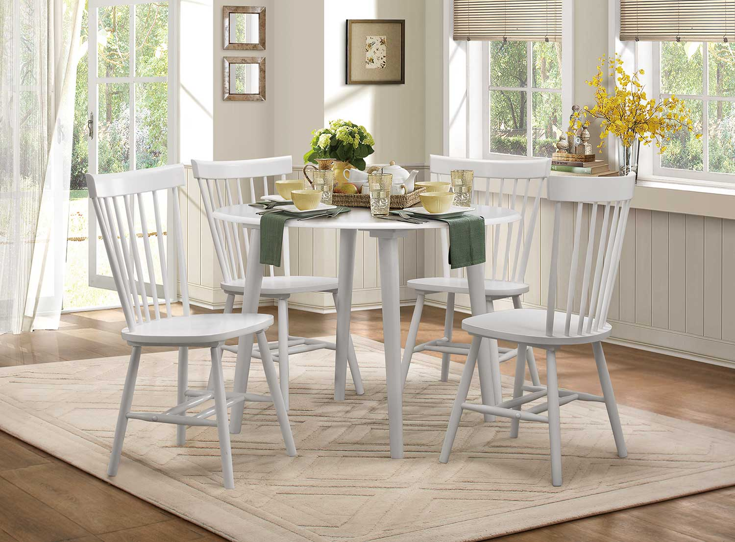 Homelegance April Round Dining Set - White