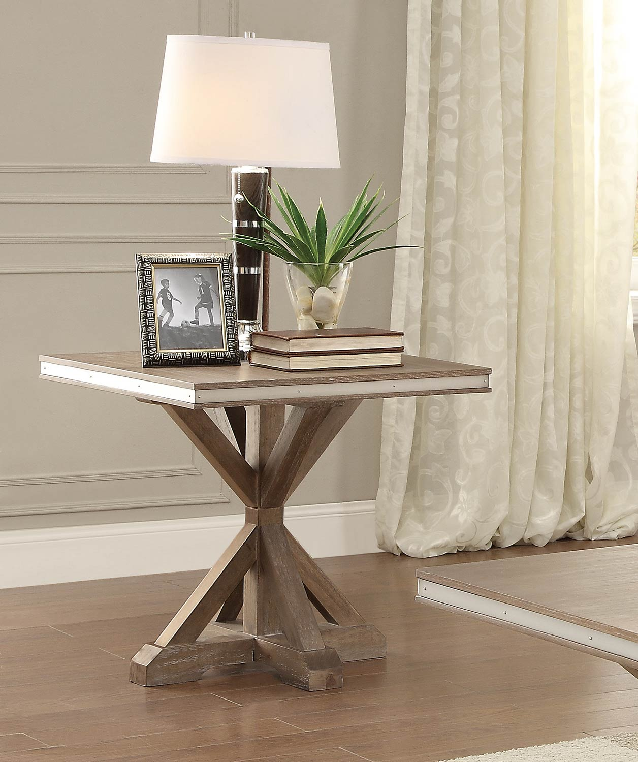 Homelegance Beaugrand End Table - Light Brown with Stainless Steel Apron Banding