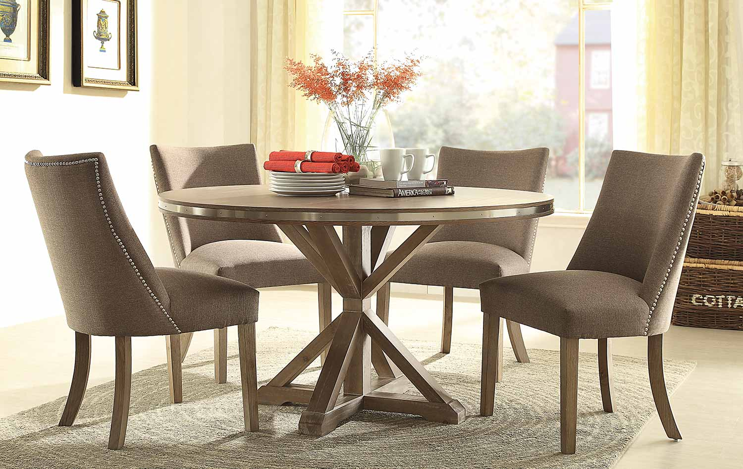 Homelegance Beaugrand Round Dining Set - Brown