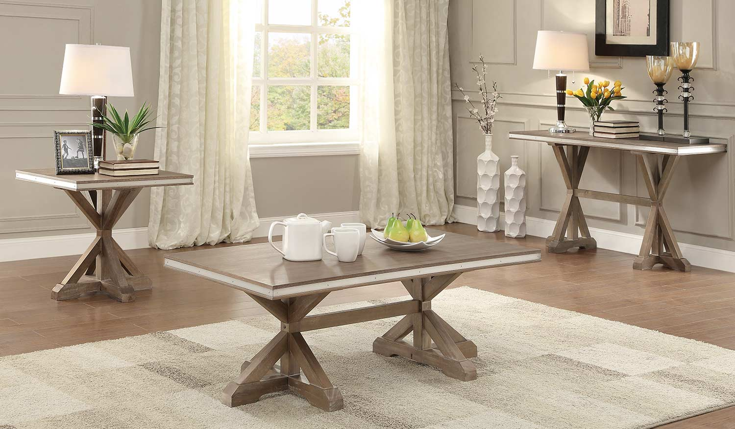 Homelegance Beaugrand Coffee Table Set Light Brown With Stainless Steel Apron Banding