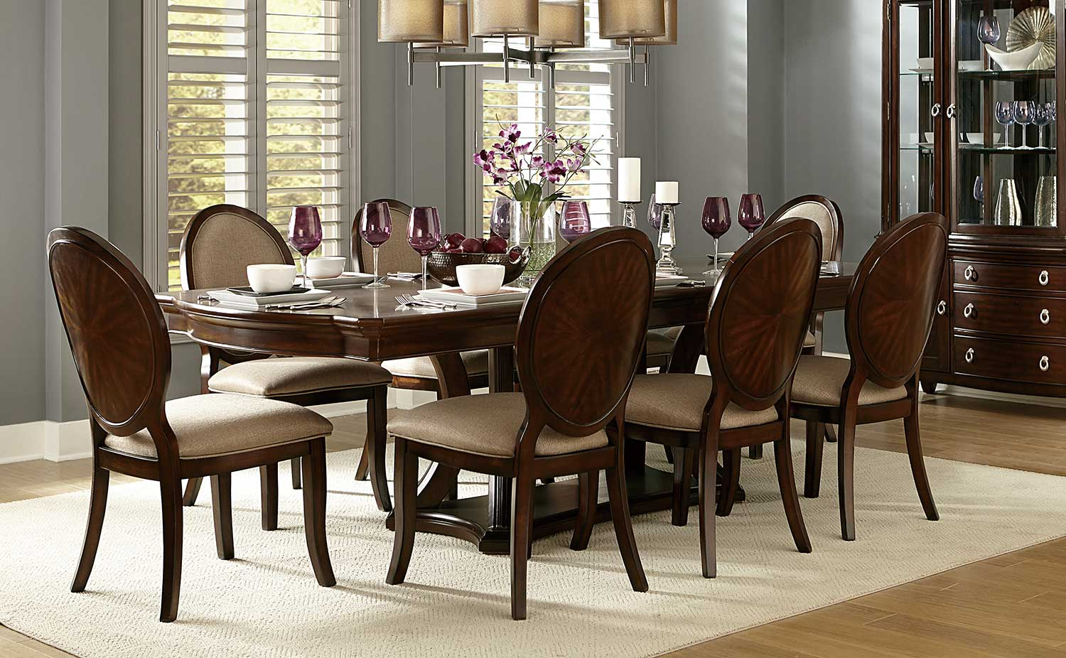 Homelegance Delavan Pedestal Dining Set - Brown Cherry