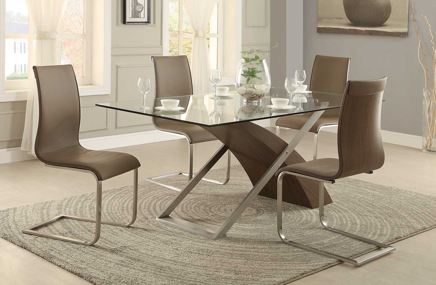 Homelegance Odeon Dining Set - Wood/Stainless Steel