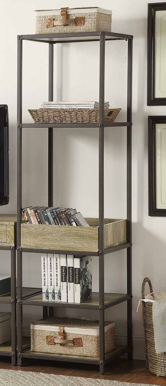 Homelegance Rumi Side Pier/Bookcase with Tray - Light Burnished Wood with Metal Frame