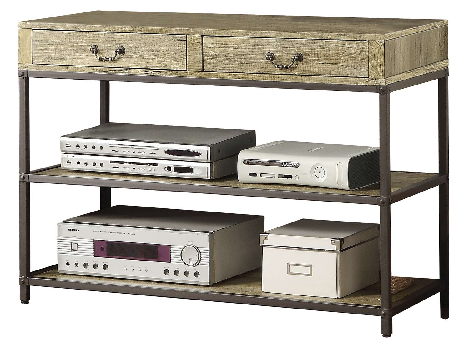 Homelegance Rumi TV Stand/Sofa Table and Drawers - Light Burnished Wood with Metal Frame