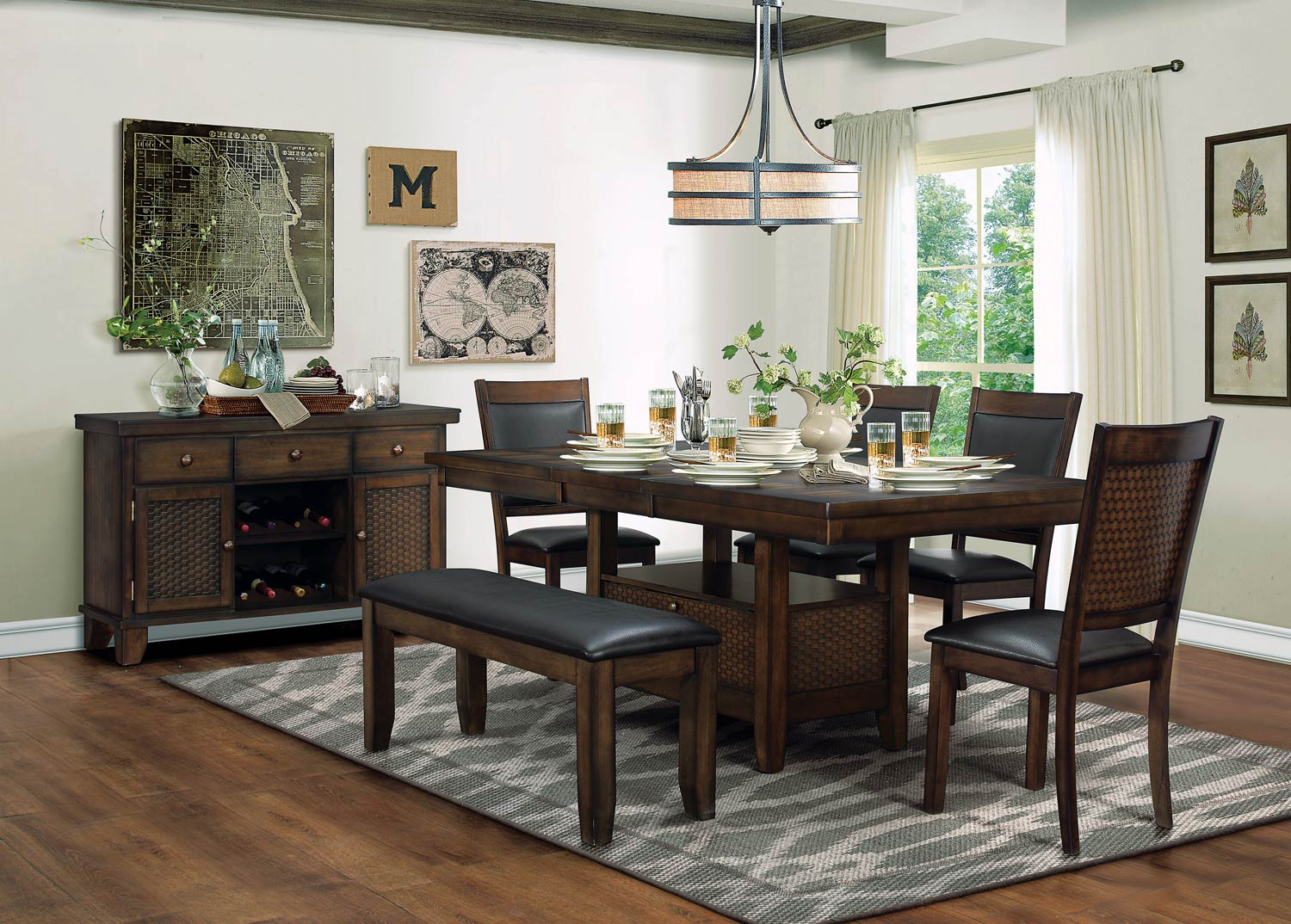 Homelegance Wickham Dining Set with Storage - Burnished Dark Walnut