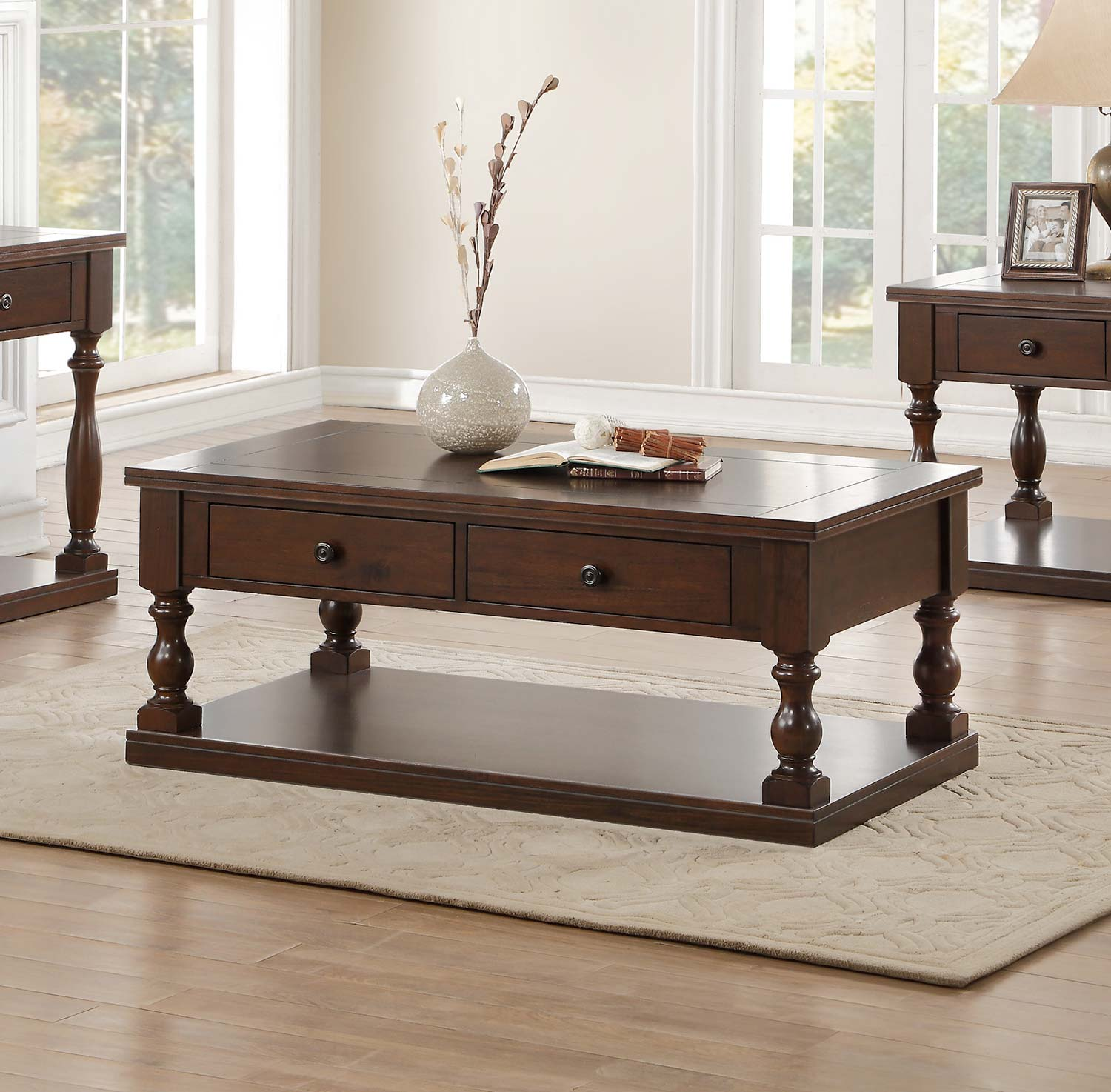 Homelegance Reid Coffee/Cocktail Table with Two Functional Drawers on Casters