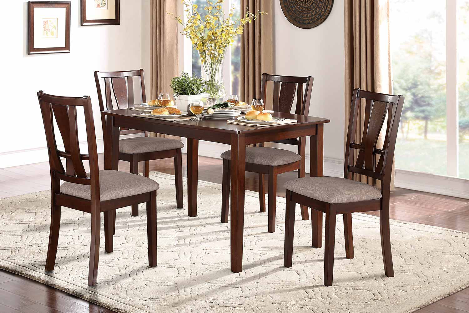 Homelegance Rushville 5-Piece Pack Dinette Set - Warm Cherry