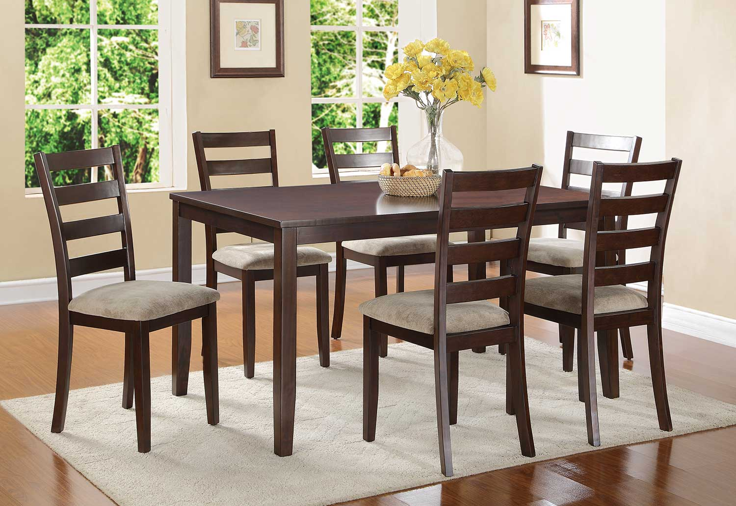Homelegance Galion 7-Piece Pack Dinette Set - Cherry