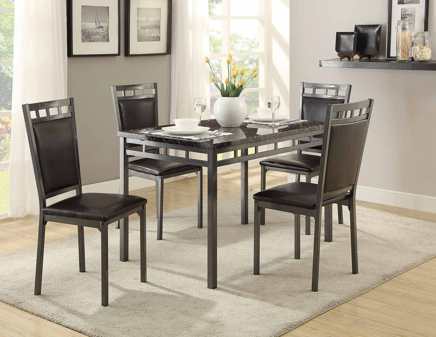 Homelegance Olney 5-Piece Pack Dinette Set - Metal