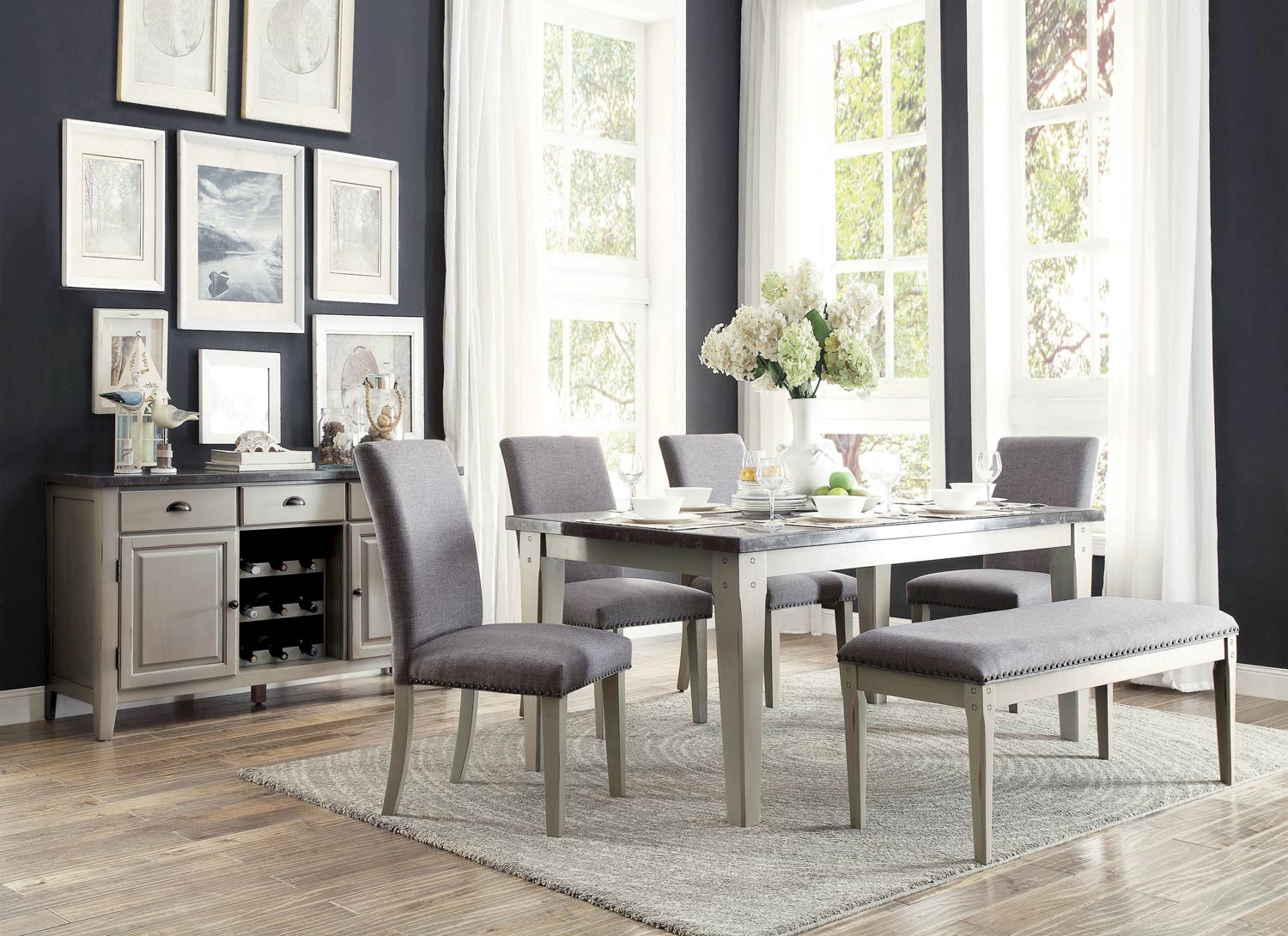 Homelegance Mendel Dining Set - Bluestone Marble Top - Grey
