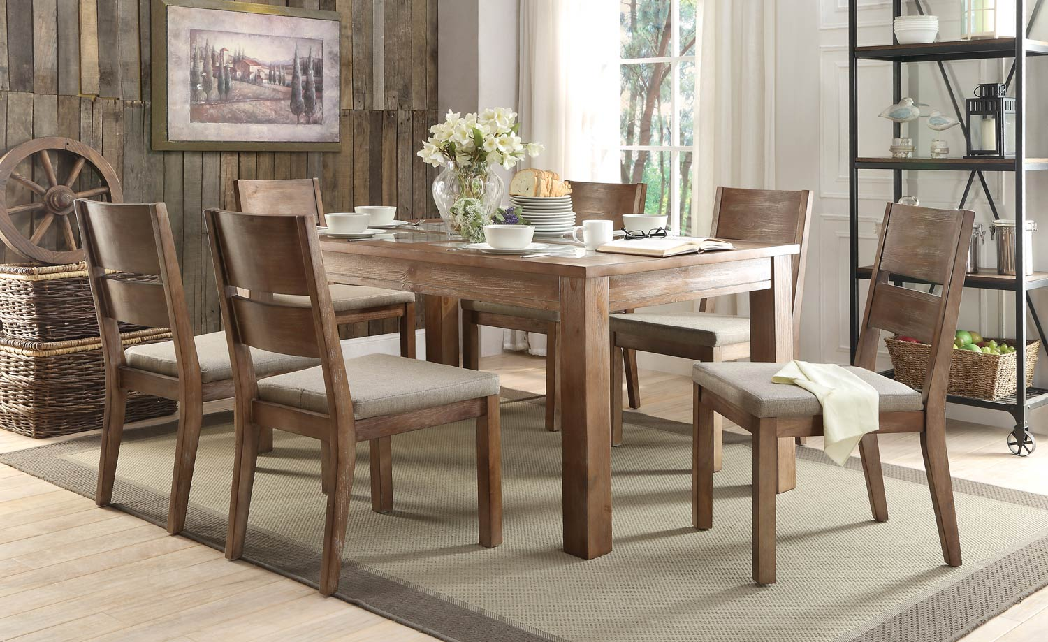 Homelegance Marion Dining Set - Tile Inset - Natural Weathered