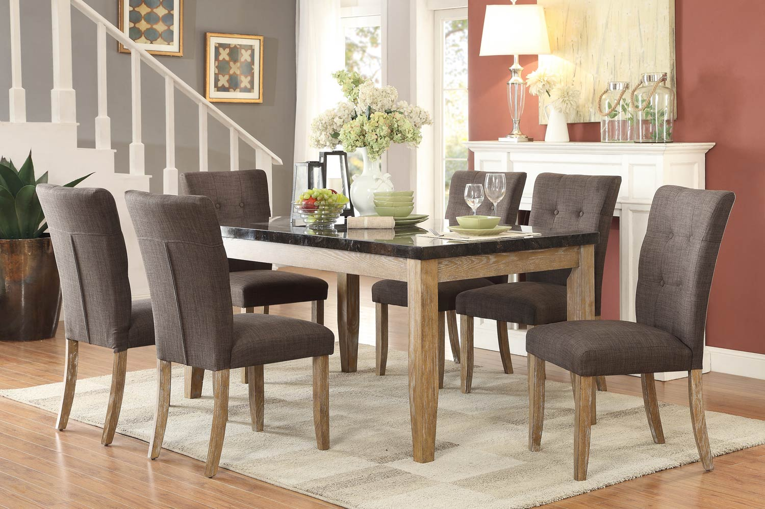 Homelegance Huron Dining Set - Faux Marble Top - Weathered Wood