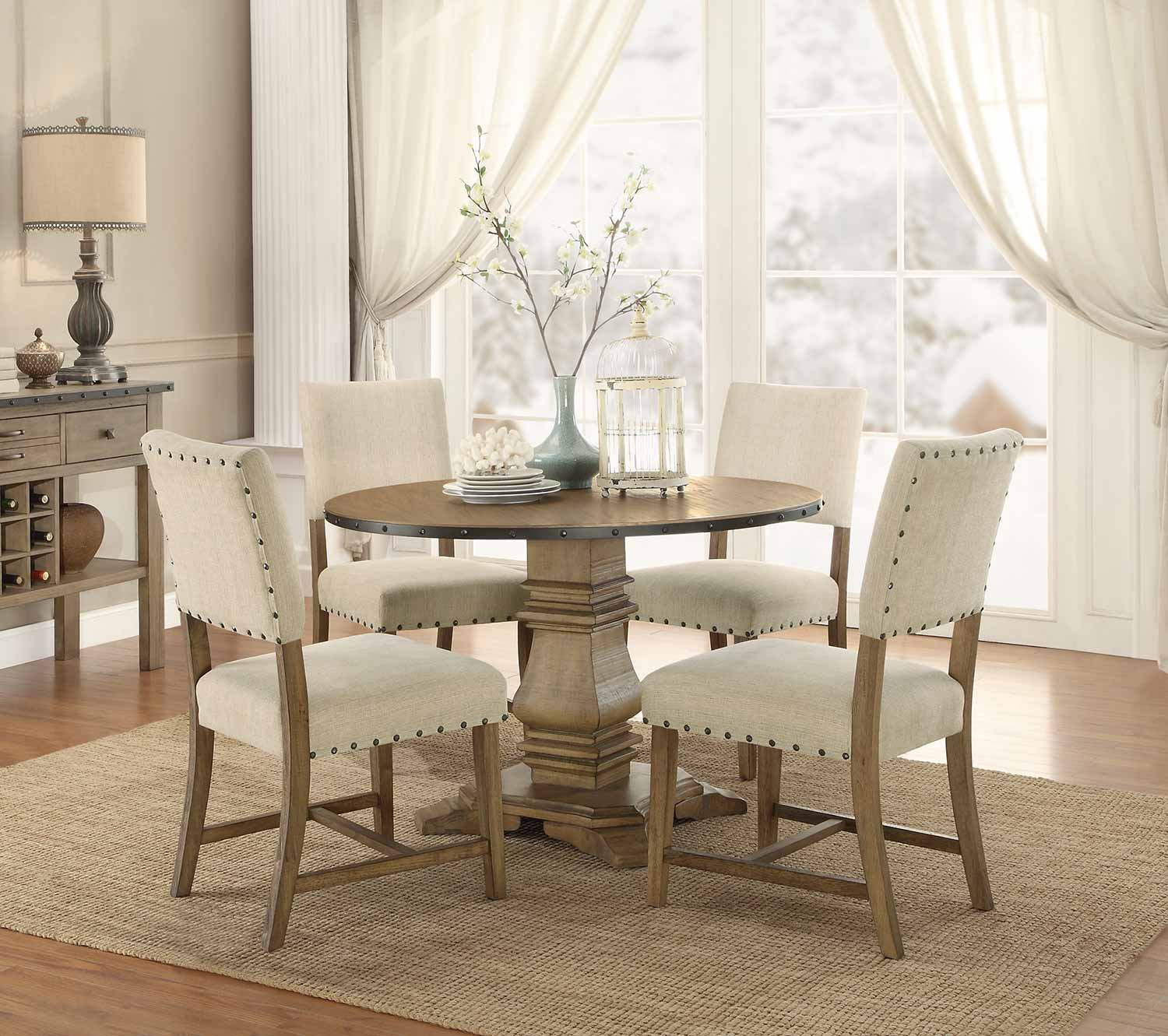 Homelegance Veltry Round Dining Set - Weathered Finish