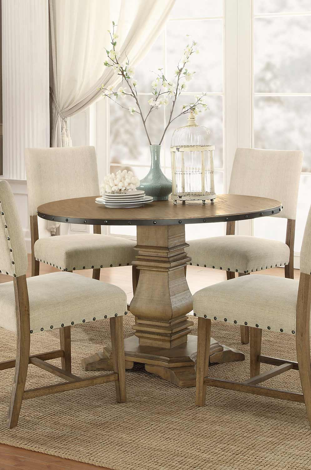 Homelegance Veltry Round Pedestal Dining Table Weathered