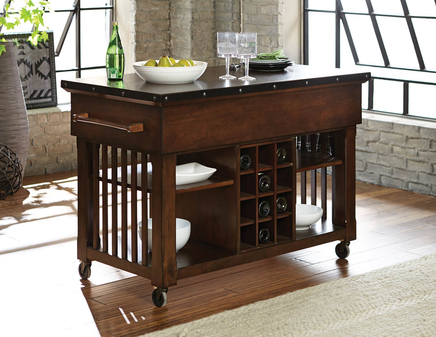 Homelegance Schleiger Kitchen Cart - Burnished Brown