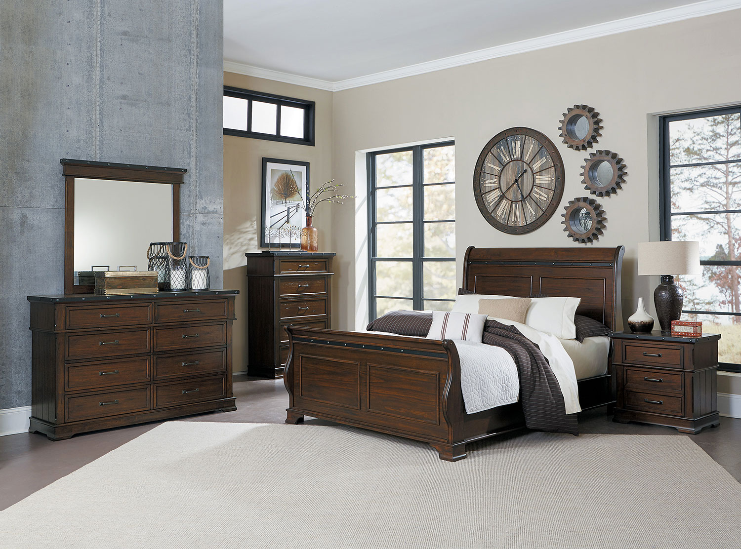 Homelegance Schleiger Sleigh Bedroom Set - Burnished Brown