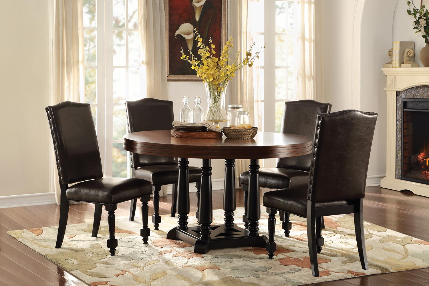 Homelegance Blossomwood Round Dining Set with Bi-Cast Chairs - Cherry/Black