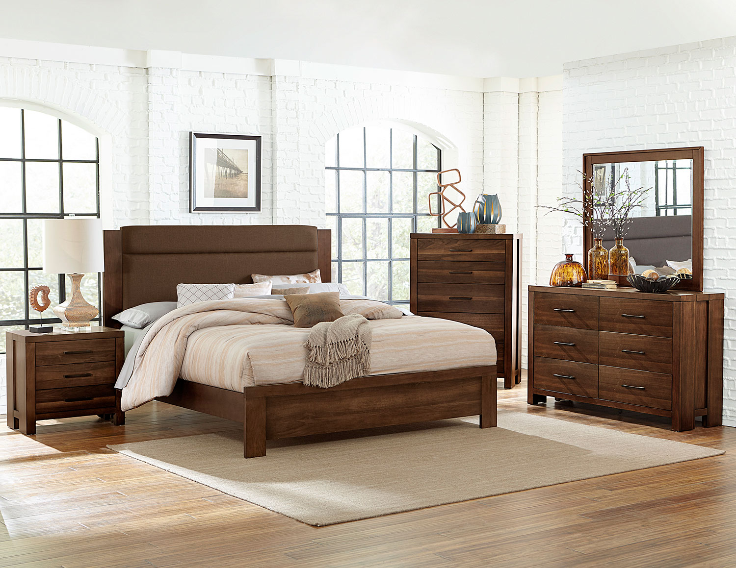 Homelegance Sedley Upholstered Bedroom Set - Walnut