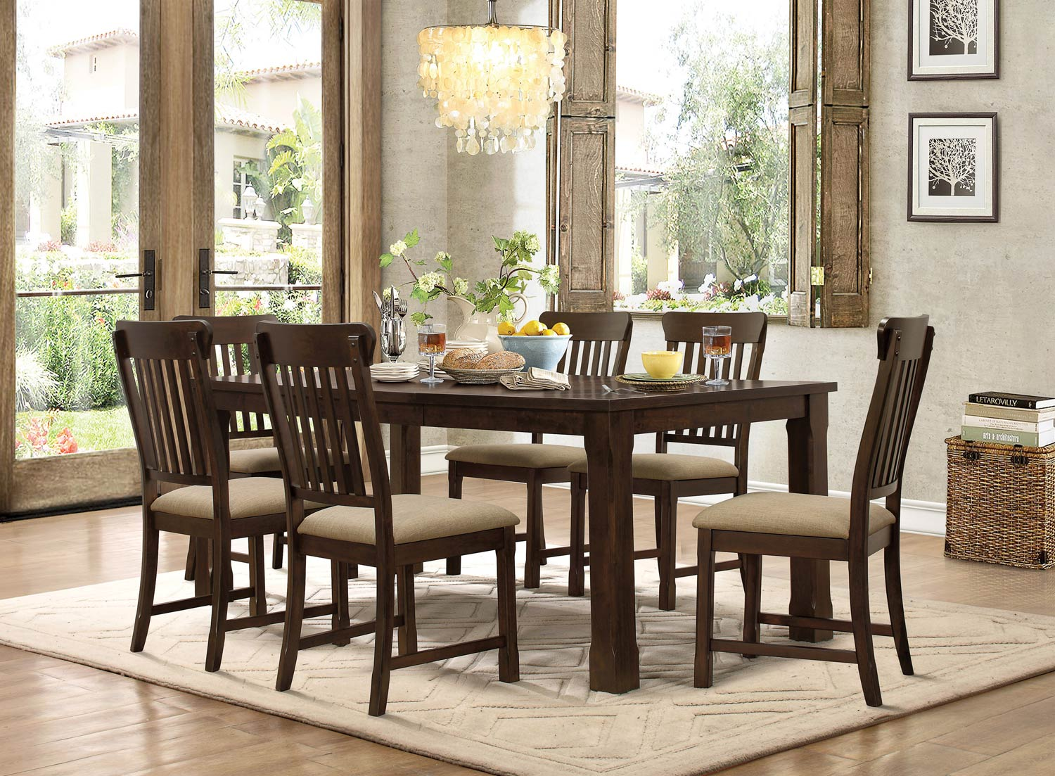 Homelegance Sycamore Dining Set - Burnished Dark Walnut