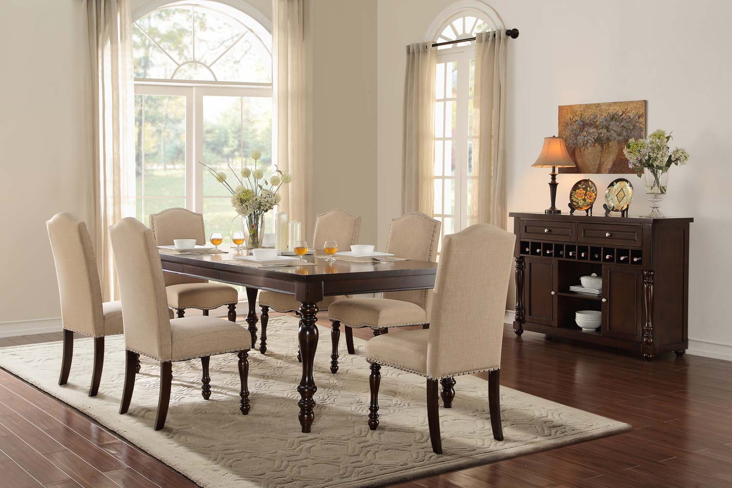 Homelegance Benwick Dining Set - Dark Cherry