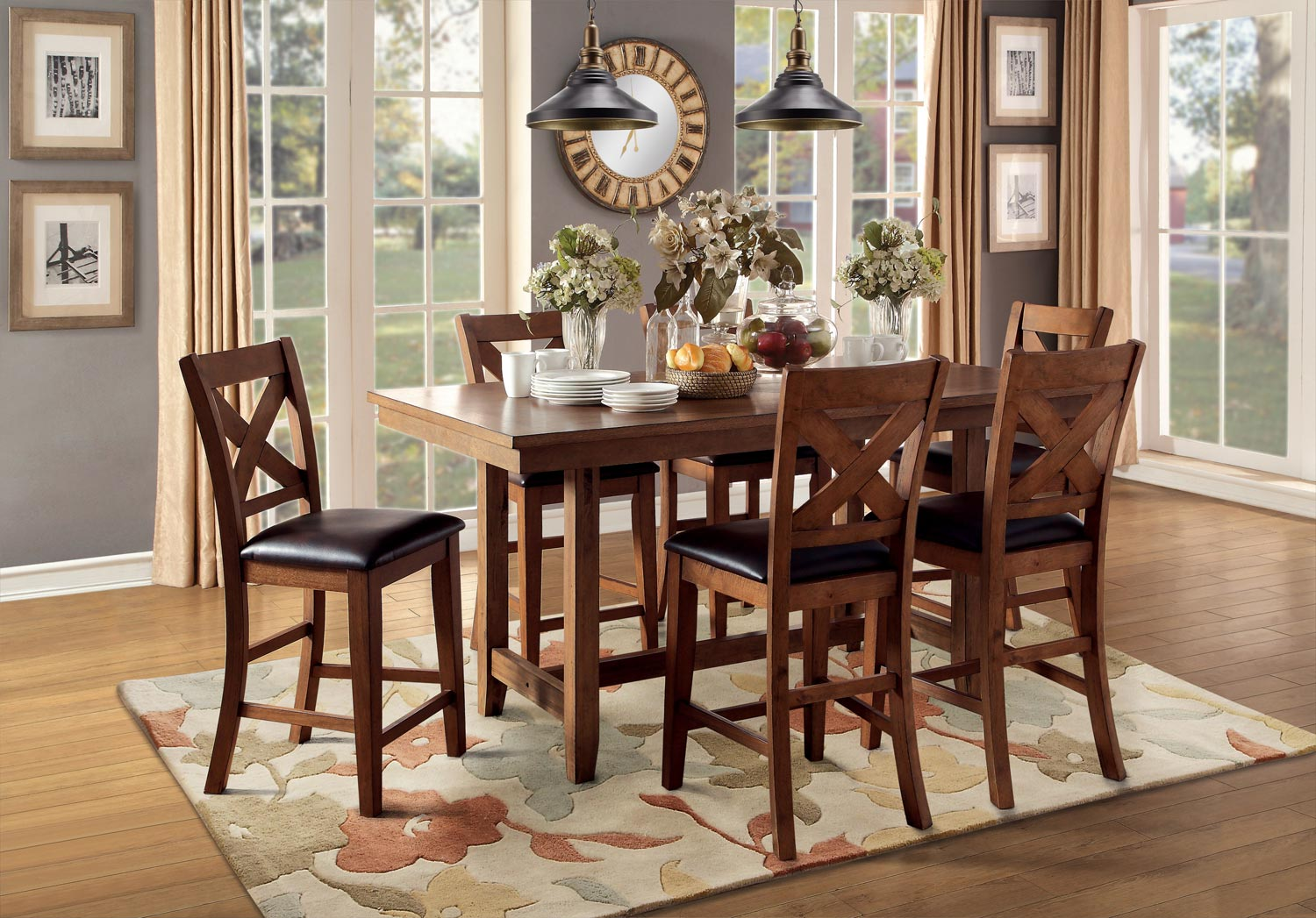 Homelegance Burrillville Trestle Counter Height Dining Set - Oak