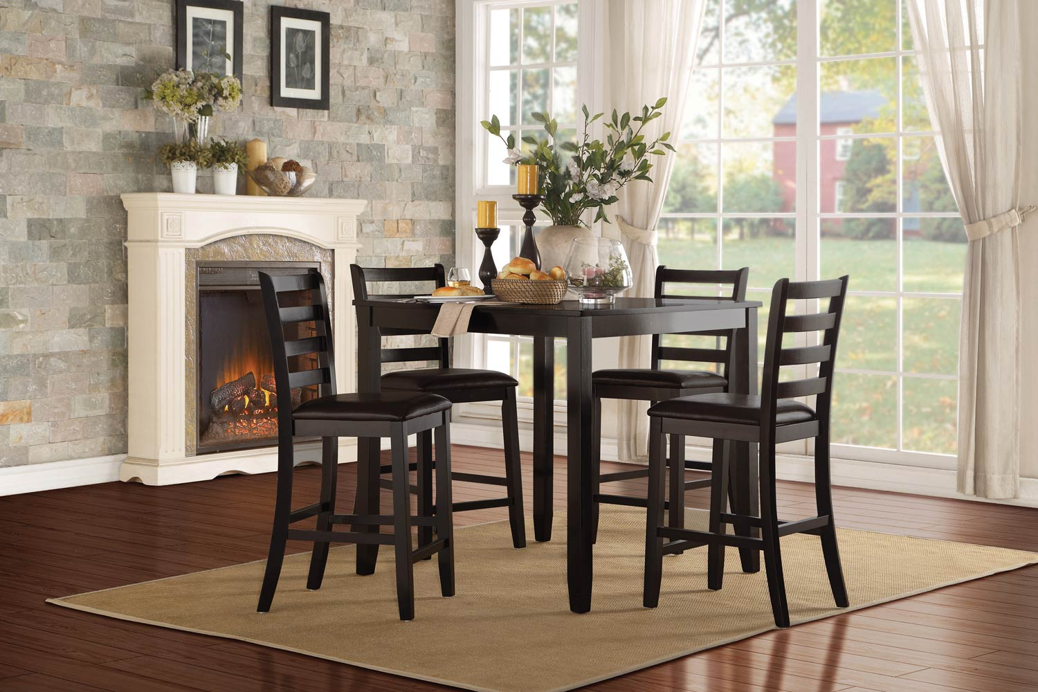 Homelegance Trask 5-Piece Counter Height Dining Set - Black