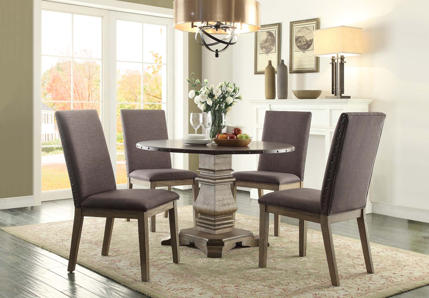 Homelegance Anna Claire Round Dining Set S1 - Driftwood/Zinc