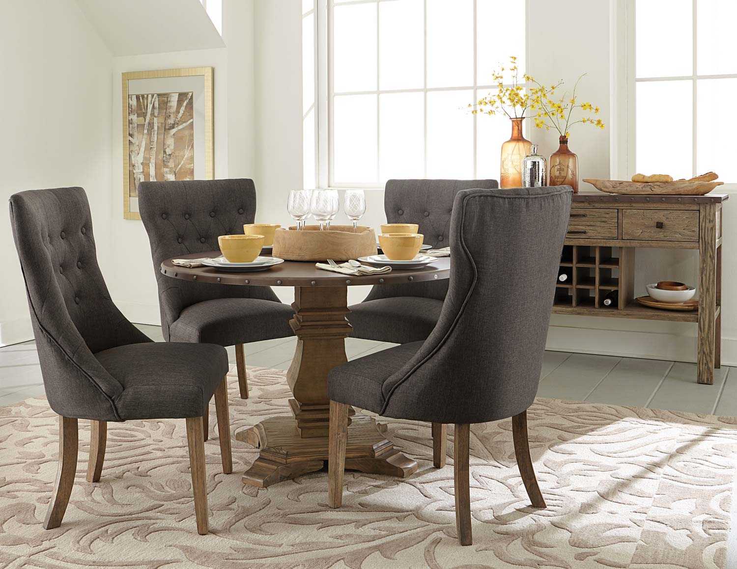Homelegance Anna Claire Round Dining Set S2 - Driftwood/Zinc
