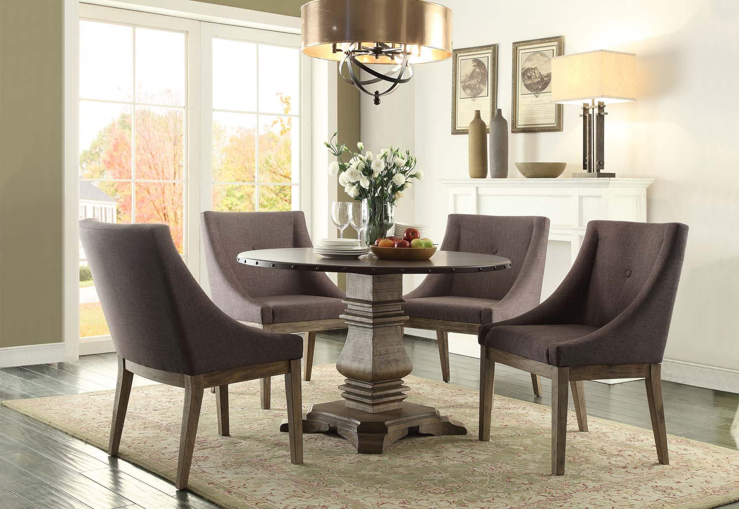 Homelegance Anna Claire Round Dining Set S3 - Driftwood/Zinc